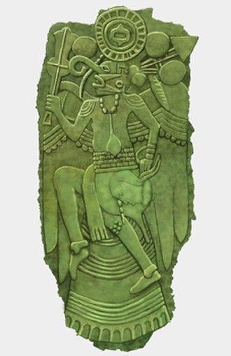 Etowah plates - Copper Solar Ogee Deity plate found at Lake Jackson Mounds, Florida