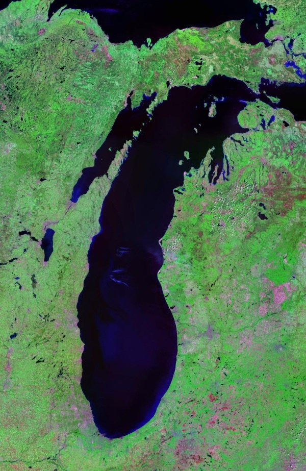 Lake Michigan Landsat Satellite Photo
