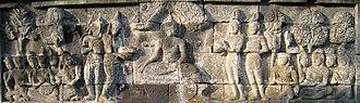 Lalitavistara Sūtra - The Offering of the Four Bowls to the Buddha, Borobudur, Indonesia.