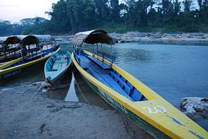 English: Lancha boat at the docks at dusk at F...
