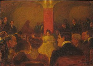Wanda Landowska - Leonid Pasternak. Concert of Wanda Landowska in Moscow (1907), a pastel from the Tretyakov Gallery.