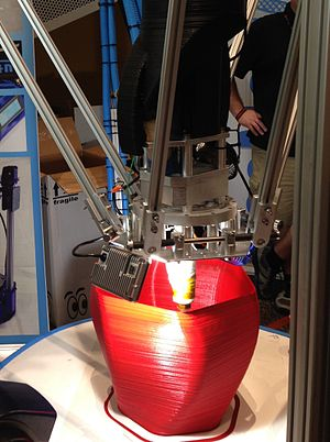 Fused filament fabrication - Printing by a large delta robot printer