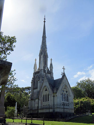 William Larnach - The mausoleum of William Larnach and family, in Dunedin Northern Cemetery, New Zealand. a miniature replica of the First Church of Otago, it was designed by Robert Lawson.