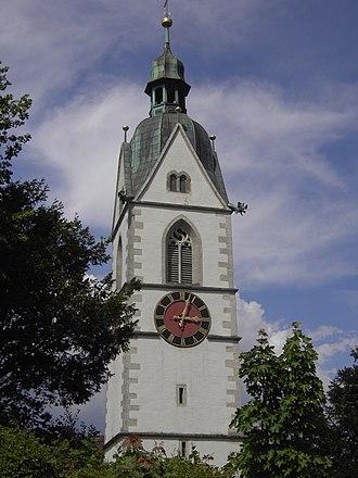 Laufenburg, Aargau - Church tower of the parish church