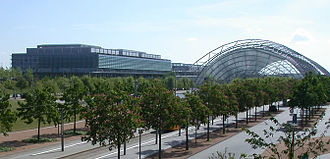 Games Convention - The western wings and central hall of the new Leipziger Messe Fairgrounds. The east wings and business centre are off-camera to the right. The central hall alone has been described as being large enough to enclose a World Cup football pitch.