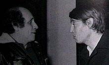 Léo Ferré al Club Tenco con l'amico Fabrizio De André nel 1975