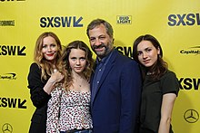 Leslie Mann, Iris Apatow, Maude Apatow and Judd Apatow at SXSW Red Carpet premiere of BLOCKERS (39852920695).jpg