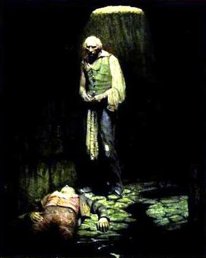 Jean Valjean - Valjean rescues Marius through the sewers. Illustration by Mead Schaeffer