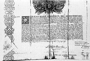 Robert Sutton de Clonard - Letter of Marque given to Clonard for Comte d'Artois.