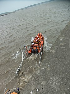 Lifeboat launch at Porthcawl, May 2011.jpg