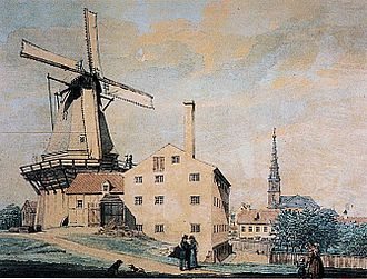 Lille Mølle, Christianshavn - Little Mill painted by Heinrich Gustav Ferdinand Holm in 1845