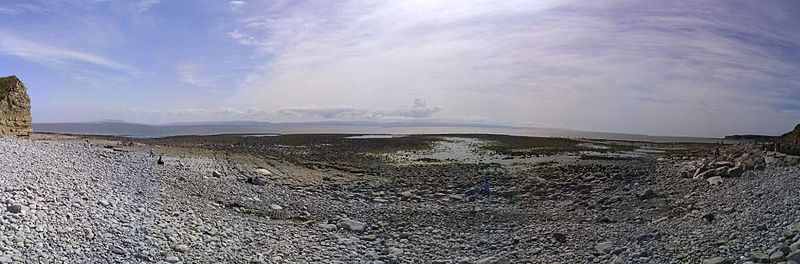 Panorama över Llantwit Major Beach