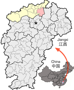 Location of Duchang County (red) within Jiujiang City (yellow) and Jiangxi