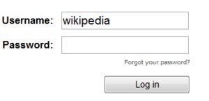 A log in window for a website requesting a username and a password