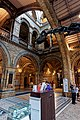 London - Cromwell Road - Natural History Museum 1881 by Alfred Waterhouse - Central Hall - Cross View to Entrance Hall with the Diplodocus' Head.jpg