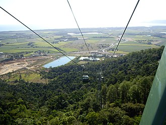Macalister Range, Queensland - Looking down from Skyrail onto Macalister Range (foreground) and beyond to Smithfield and Machans Beach, 2007