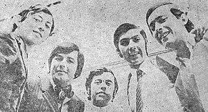 "Los Ángeles Negros - Los Ángeles Negros' classic line-up. From left to right: Germaín de la Fuente, Luis Ortíz, Jorge González, Mario Gutiérrez, and Miguel Ángel ""Nano"" Concha."