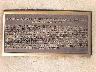 Stanford Stadium - Plaque commemorating the dedication of Louis W. Foster Family Field in 1995