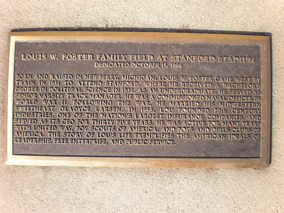 Louis W. Foster Family Field plaque