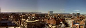 LoDo, Denver - View of LoDo and Mount Evans.