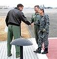 Lt. Gen. Ted Kresget, 13th Air Force Commander, greets Japan Air Self-Defense Force Lt. Gen. Haruhiko Kataoka, Air Defense Command Commander at Yokota AB.jpg