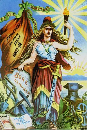 Zamfir Arbore - An allegorical illustration of Romanian socialist goals. Lumea Nouă, 1895
