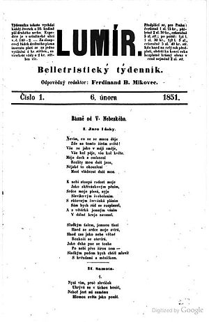 Lumír - The first issue of Lumír 1851