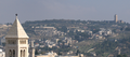 Lutheran Church of the Redeemer, Mosque of Omar (Jerusalem), Brigham Young University Jerusalem Center, and Augusta Victoria seen from David Tower 2011.png