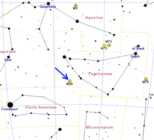 Messier 30 - Masp showing the location of M 30