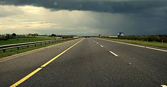 M7 motorway (Ireland) - Raised section of the Kildare bypass.
