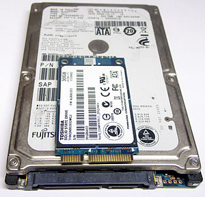 Hard disk drive interface - An mSATA SSD on top of a 2.5-inch SATA drive