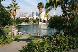 MacArthur Park looking towards Downtown Los Angeles