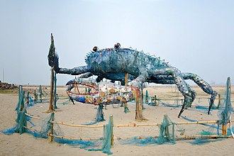 Waste - An installation art of Mad crab created with waste plastics and similar non-biodegradable wastes at Fort Kochi.