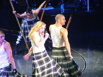 "Into the Groove - Madonna performing ""Into the Groove"" on the Re-Invention World Tour, while wearing a kilt"