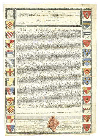 A 1733 engraving of the Charter of 1215 by John Pine Magna Carta - John Pine engraving 1733.jpg