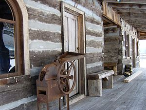 Melungeon - Porch of the restored Mahala Mullins Cabin, originally located in Vardy, Blackwater Creek