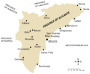 Main towns in Alicante province