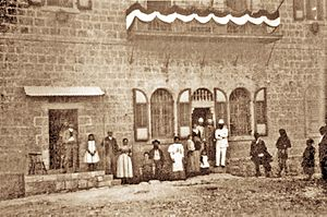 Mamilla - Theodor Herzl outside the Stern House, 1898