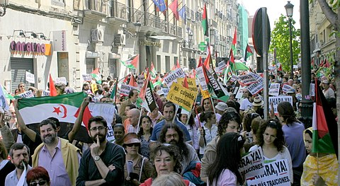 A demonstration in Madrid for the independence of Western Sahara, 2007 Manifestation in Madrid for the independence of the Western Sahara (13).jpg