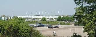 Mannheim May Market - Warm-up arena and equestrian stadium (behind).