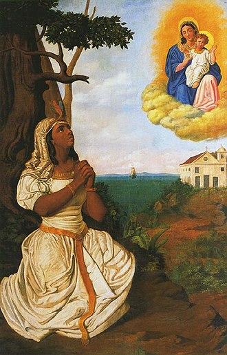 Catarina Paraguaçu - Catarina Paraguaçu's Dream, a 1871 painting by Manuel Lopes Rodrigues
