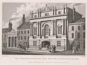 James Paine (architect) - The Mansion House and New Betting Room, Doncaster, engraved by John Rogers after a drawing by Nathaniel Whittock, published by Isaac Taylor Hinton, London, 1829.