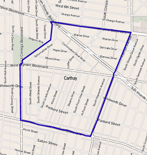 Carthay, Los Angeles - Map of Carthay, Los Angeles, as delineated by the Los Angeles Times