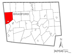 Map of Bradford County, Pennsylvania highlighting Columbia Township