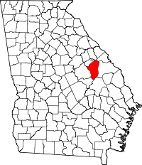Map of Georgia highlighting Jefferson County