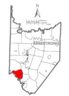 Map of Armstrong County, Pennsylvania highlighting Gilpin Township
