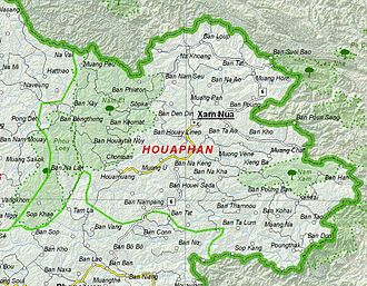 Houaphanh Province - Image: Map of Houaphan Province, Laos