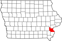 Map of Iowa highlighting Louisa County