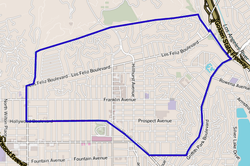 Los Feliz neighborhood, as mapped by the Los Angeles Times