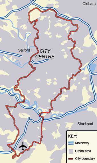 The City of Manchester. The land use is overwhelmingly urban Map of Manchester.png